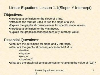 Algebra Linear Equations Lesson 1.1 Slope Y-Intercept Power Point