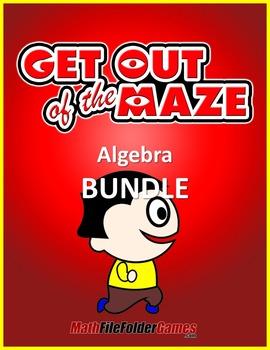 Algebra Mazes (Solving Equations Worksheets) - BUNDLE