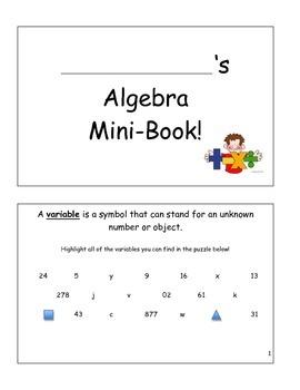 Algebra Mini-Book