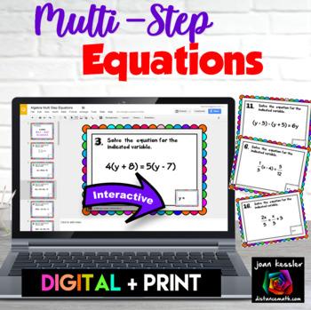Algebra Multi Step Equations Digital Task Cards with GOOGL