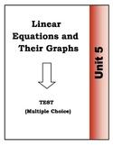 Algebra Multiple Choice Test - Unit 5: Linear Equations an