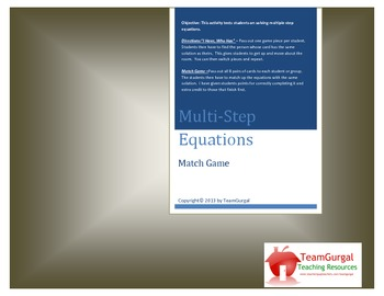 Algebra Multiple Step Equations Match Game