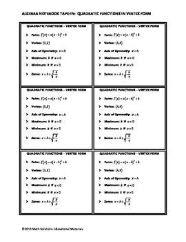 Algebra Notebook Tape-In: Quadratic Functions in Vertex Form