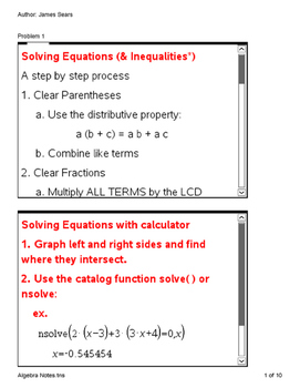 Algebra Notes