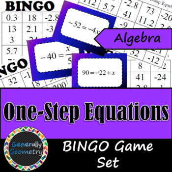 Algebra One-Step Equation BINGO with 30 Cards Included!