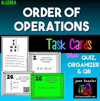 Algebra Order of Operations Task Cards QR plus Quiz and Organizer
