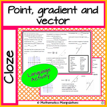 Algebra Point Gradient and Vector Cloze
