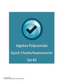 Polynomials FOIL Simplify Formative Assessments Quiz Bell
