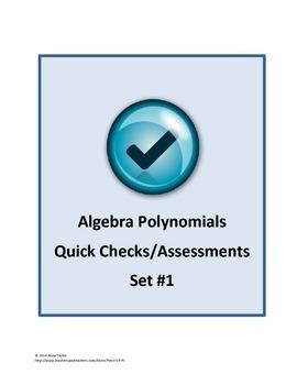 Polynomials Simplify Classify Exit Tickets Bell Work Quiz