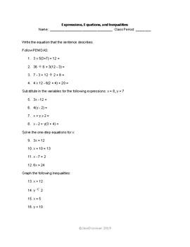 Algebra Practice Sheet