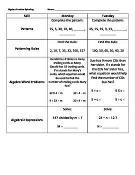 Algebra Practice (Spiraling Format)