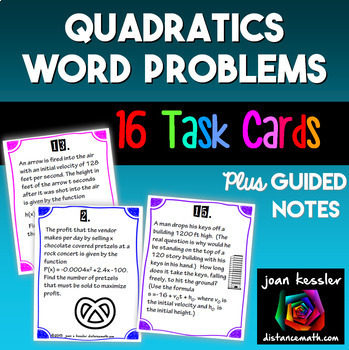 Algebra PreCalculus Applications of Quadratics Task Cards