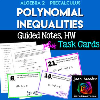 Algebra PreCalculus Polynomial Inequalities *Task Cards*