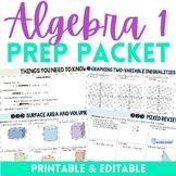 Algebra Prep Packet