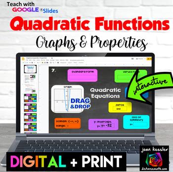 Algebra Quadratic Properties Concept Map with GOOGLE Slides