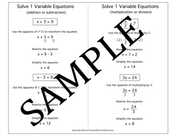 Algebra Quick Notes: Solve 1 Variable Equations (multiple