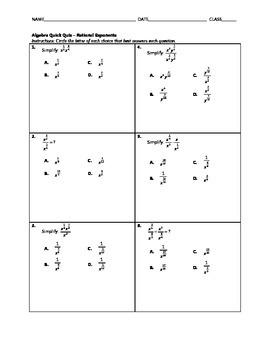 Algebra Quick Quiz - Rational Exponents 2