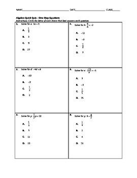 Algebra Quick Quiz - Solving One-Step Equations with Multi