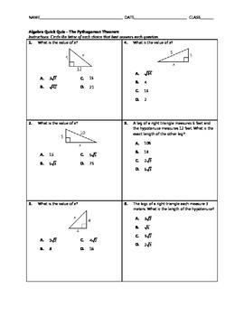 Algebra Quick Quiz - The Pythagorean Theorem