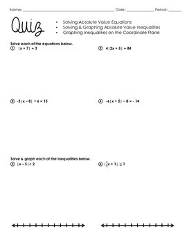 Algebra Quiz (Absolute Value Equations & Inequalities)