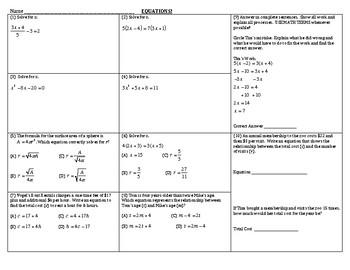 Algebra Review - Equations