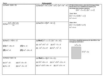 Algebra Review - Polynomials
