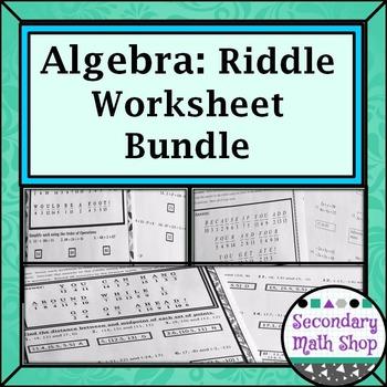 Algebra Riddle Worksheet Money Saving Bundle!!!