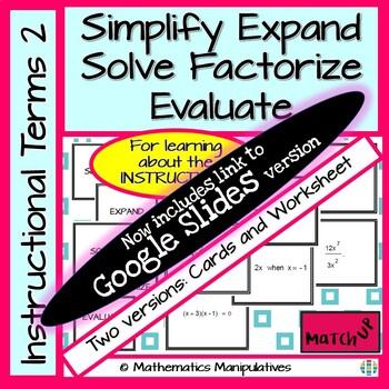 Algebra Simplify Expand Solve Factorise Evaluate Instructi