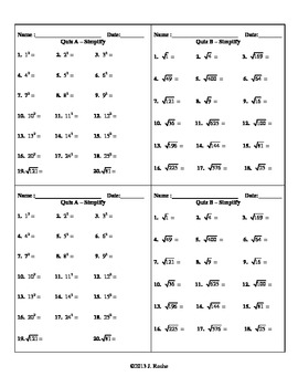 Algebra – Simplifying Radicals (Quiz, Bell Ringer, Do Now,