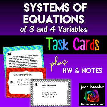 Algebra Systems of Equations Task Cards 3 Variables with H