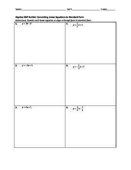 Algebra Skill Builder - Converting Linear Equations to Sta
