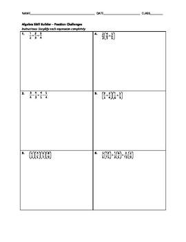 Algebra Skill Builder - Fraction Challenges