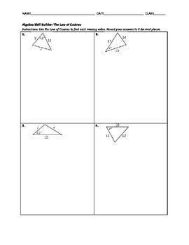 Algebra Skill Builder - Law of Cosines