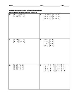Algebra Skill Builder - Matrix Addition and Subtraction