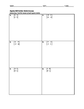 Algebra Skill Builder - Matrix Inverses