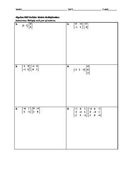 Algebra Skill Builder - Matrix Multiplication