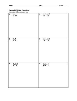 Algebra Skill Builder - Proportions