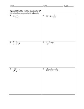 Algebra Skill Builder - Solving Equations for y