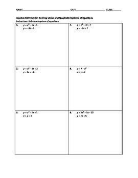 Algebra Skill Builder - Solving Linear and Quadratic Syste