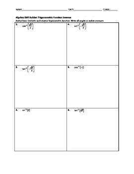 Algebra Skill Builder - Trig Function Inverses