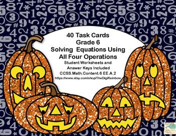 Algebra-Solving Equations Using All 4 Operations-Math Task