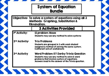 Algebra System of Equations Review  Activity Packet