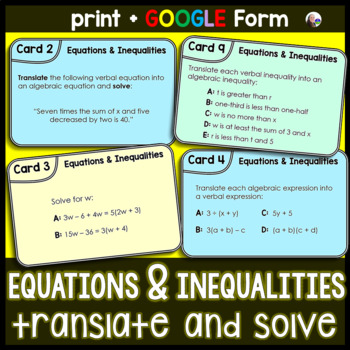 Equations and Inequalities Task Cards:Translate + Solve