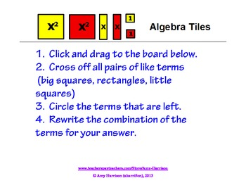 Algebra Tiles Mats, Problems, and Answers for Active Inspi