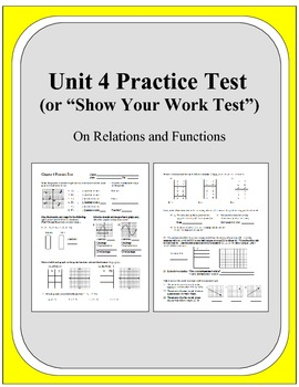Algebra: Unit 4 Practice Test or Review on Relations and F