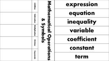 Algebra Vocabulary Foldable & Graphic Organizer