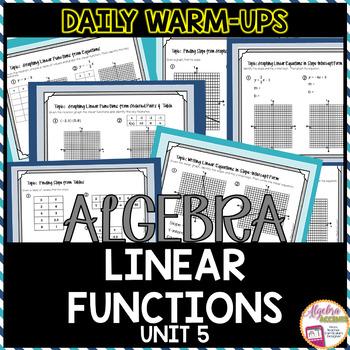 Algebra Warm-Ups: Linear Functions