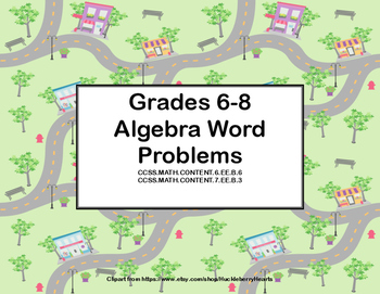 Algebra- Word Problems--Task Cards-Grades 6-8