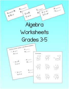 Algebra Worksheets for Grade 3 to Grade 5