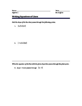 Algebra - Writing Equations of Lines in Slope-Intercept Form